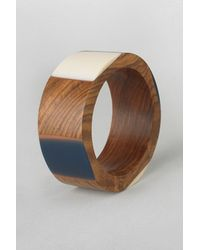 French Connection | Blue Resin Wood Bangle | Lyst