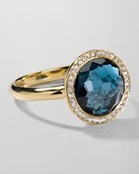 Ippolita | Metallic 18k Gold Rock Candy Mini Lollipop Ring In London Blue Topaz & Diamond | Lyst
