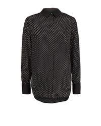 Mango - Black Polkadot Flowy Shirt - Lyst