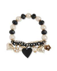 Betsey Johnson | Metallic Gold-tone Black Heart Half-stretch Bracelet | Lyst