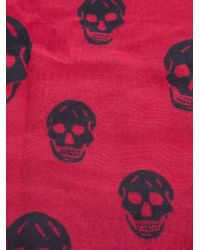 Alexander McQueen | Red Reversible Skull/plaid Woven Blanket | Lyst