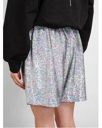 Ashish - Blue Holographic Sequin Shorts - Lyst