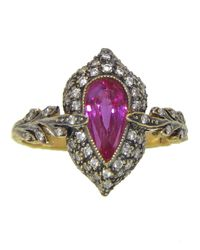 Cathy Waterman | Purple Double Leaf Ring | Lyst