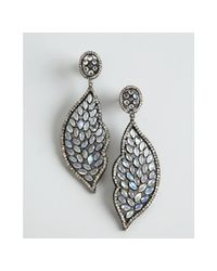 Amrapali | Metallic Moonstone and Diamond Leaf Drop Earrings | Lyst