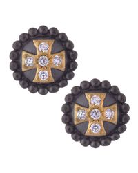 Belargo | Black Round Cross Stud Earrings | Lyst