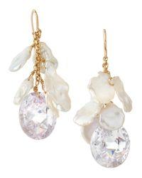 Devon Leigh - White Freeform Pearl Cubic Zirconia Drop Earrings - Lyst