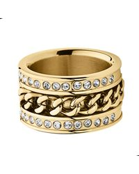 Dyrberg/Kern | Black Nerissa Shiny Gold Ring | Lyst