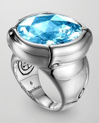 John Hardy - Metallic Batu Bamboo Silver Blue Topaz Ring for Men - Lyst