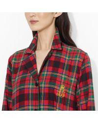 Lauren by Ralph Lauren - Red Plaid Cotton Pajama Set - Lyst