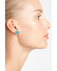 Marc By Marc Jacobs | Blue Enamel Logo Disc Earrings | Lyst