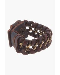 DIESEL - Brown Leather_wrapped Atechain Bracelet for Men - Lyst