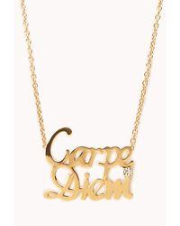 Forever 21 | Metallic Statement Carpe Diem Necklace | Lyst