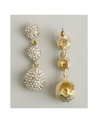 Kenneth Jay Lane - Metallic Gold Crystal Covered Triple Ball Drop Earrings - Lyst
