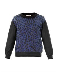 Sea | Black Leopard Print Wool and Leather Sweatshirt for Men | Lyst