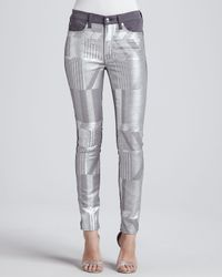 7 For All Mankind - Metallic Malhia Kent The Skinny Jeans Silver - Lyst
