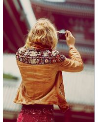 Free People | Brown Embellished Classic Biker Jacket | Lyst