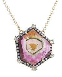 Jemma Wynne - Pink Geometric Watermelon Tourmaline Pendant - Lyst