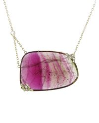 Jemma Wynne - Pink Tourmaline Slice Necklace - Lyst