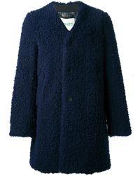 KENZO | Blue Textured Collarless Coat for Men | Lyst
