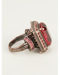 Lanvin - Red Faceted Gem Ring - Lyst