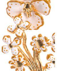 Alexander McQueen - Metallic Enamel and Gold Flower Bracelet - Lyst