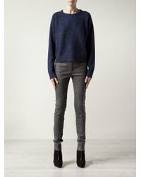 Alexander Wang - Blue Dotted Speckled Knit Cardigan - Lyst