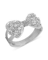 Betsey Johnson | Metallic Silvertone Crystal Bow Hinge Bangle Bracelet | Lyst