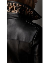 Burberry | Black Long Printed Calfskin Nappa Leather Trench Coat | Lyst