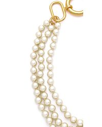Fallon - Metallic Classique Triple Gold Pearl Necklace - Lyst