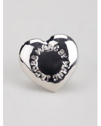 Marc By Marc Jacobs - Metallic Domed Logo Heart Studs - Lyst