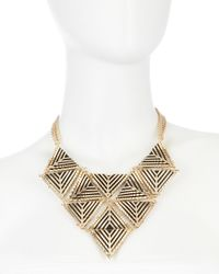 Fragments - Metallic Geometric Bib Necklace - Lyst