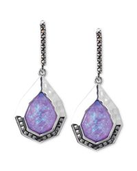Judith Jack | Sterling Silver Marcasite 710 Ct Tw and Imitation Purple Opal 5320 Ct Tw Drop Earrings | Lyst