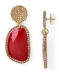 Roni Blanshay - Red Quartz Slice Earrings - Lyst