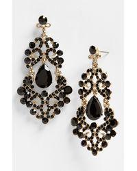 Tasha | Black Ornate Chandelier Earrings | Lyst