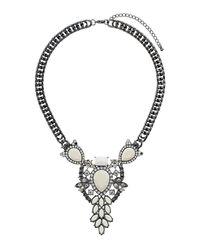 TOPSHOP - Metallic Flower Drop Necklace - Lyst