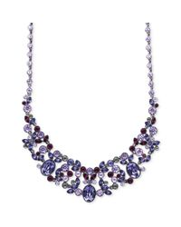 Givenchy | Blue Hematitetone Purple Glass Stone Frontal Necklace | Lyst