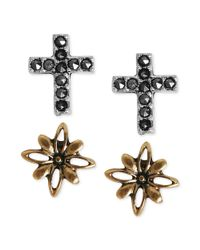 Lucky Brand - Black Goldtone and Silvertone Cross and Flower Stud Earrings - Lyst