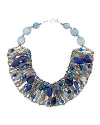 Panacea - Glass Crystal Stone Collar Necklace Blue - Lyst