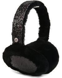 UGG | Black Two-tone Sequin Shearling Fur Headphone Wired Earmuffs | Lyst