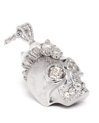 Alexander McQueen | Metallic Pearl Mohawk Skull Pendant Necklace | Lyst