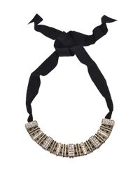 Lanvin | Gray Marie Laure Crystal Embellished Necklace | Lyst
