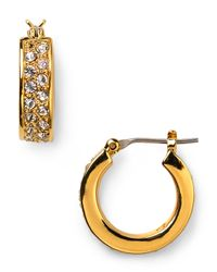 Pink Pony - Metallic Lauren Grand Palais Small Pave Hoop Earrings - Lyst