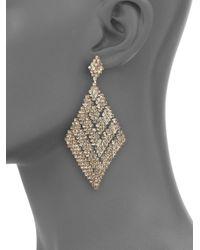 ABS By Allen Schwartz | Metallic Faceted Mesh Drop Earrings | Lyst
