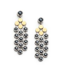 John Hardy | Black Dot Hematite, 18K Yellow Gold & Sterling Silver Chandelier Earrings | Lyst