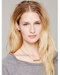 Free People - Blue Etched Plate Necklace - Lyst