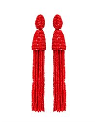 Oscar de la Renta | Red Long Tassel Earrings | Lyst