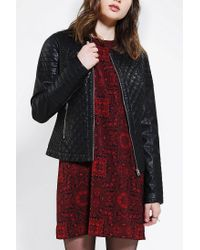Urban Outfitters | Black Members Only Quilt On Quilt Vegan Leather Moto Jacket | Lyst