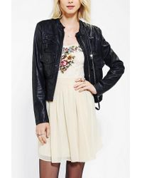 Urban Outfitters | Black Members Only Zip Detail Vegan Leather Moto Jacket | Lyst