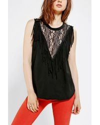 Urban Outfitters | Black Urban Renewal Lace Fringe Tee | Lyst