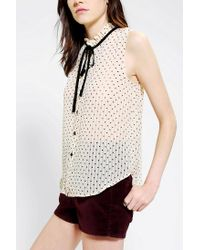 Urban Outfitters - White Coincidence Chance Polka Dot Tieneck Blouse - Lyst